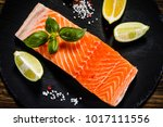 fresh raw salmon fish served on ... | Shutterstock . vector #1017111556