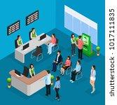 isometric people in bank office ... | Shutterstock .eps vector #1017111835