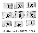 soccer goalkeeper silhouette... | Shutterstock .eps vector #1017113275