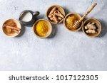 ingredients for turmeric latte. ... | Shutterstock . vector #1017122305