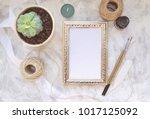 vintage mockup. succulent plant ... | Shutterstock . vector #1017125092