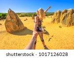 follow me  attractive sporty... | Shutterstock . vector #1017126028