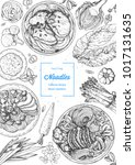 asian food engraved sketch.... | Shutterstock .eps vector #1017131635
