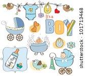 Baby Boy Shower Elements Set...