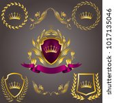 set of golden royal shields... | Shutterstock .eps vector #1017135046