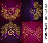 set of elegant golden shields... | Shutterstock .eps vector #1017135466
