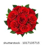 Stock photo red rose flowers in round bouquet isolated on white flat lay top view 1017135715