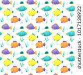pattern with colorful fishes | Shutterstock . vector #1017138922