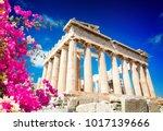 parthenon temple over bright... | Shutterstock . vector #1017139666