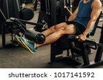 sportsman with beautiful legs... | Shutterstock . vector #1017141592