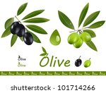 a set off green and black olive ... | Shutterstock .eps vector #101714266