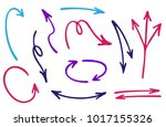 red and blue hand drawn arrow... | Shutterstock .eps vector #1017155326