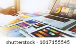 graphic designer at work... | Shutterstock . vector #1017155545