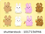 eight bunnies in different... | Shutterstock .eps vector #1017156946