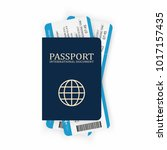 passport with boarding pass.... | Shutterstock .eps vector #1017157435
