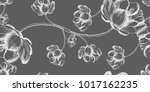 floral pattern peony hand drawn ... | Shutterstock .eps vector #1017162235
