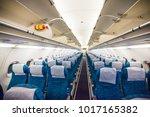 airplane interior without... | Shutterstock . vector #1017165382
