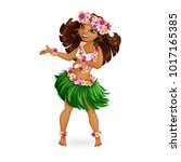a beautiful girl in hawaiian... | Shutterstock .eps vector #1017165385