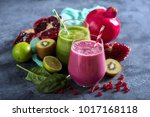 colorful smoothie  healthy... | Shutterstock . vector #1017168118