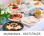 wedding table setting in the... | Shutterstock . vector #1017176125