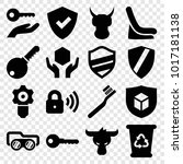 protect icons. set of 16... | Shutterstock .eps vector #1017181138