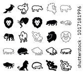 zoo icons. set of 25 editable... | Shutterstock .eps vector #1017181996