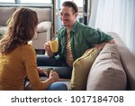 cheerful married couple resting ... | Shutterstock . vector #1017184708