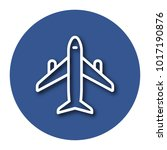 line icon of plane with shadow. ... | Shutterstock .eps vector #1017190876