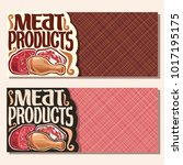 vector banners for meat with... | Shutterstock .eps vector #1017195175