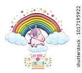 vector funny cartoon cute pink... | Shutterstock .eps vector #1017195922