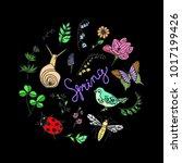 set spring illustration.... | Shutterstock . vector #1017199426