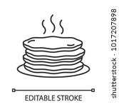 pancakes stack linear icon.... | Shutterstock .eps vector #1017207898