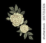 yellow roses. embroidered... | Shutterstock .eps vector #1017212326