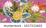 tropical seamless floral... | Shutterstock .eps vector #1017212602