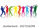 dancing people silhouettes.... | Shutterstock .eps vector #1017216298