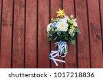 original wedding bouquet with... | Shutterstock . vector #1017218836