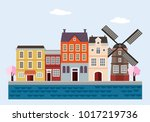 colorful houses with windmill ... | Shutterstock .eps vector #1017219736