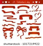 vector set of red ribbons | Shutterstock .eps vector #1017219922