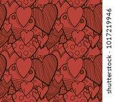 hearts hand drawn seamless... | Shutterstock .eps vector #1017219946