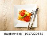 an appetizing portion of...   Shutterstock . vector #1017220552