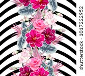 seamless pattern with roses ... | Shutterstock .eps vector #1017222952