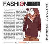 banner with  trendy girl in...   Shutterstock .eps vector #1017225796