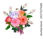 bouquet of colorful roses.... | Shutterstock .eps vector #1017227668