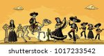 the skeleton in the mexican... | Shutterstock .eps vector #1017233542