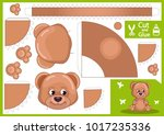 cut and glue the paper bear.... | Shutterstock .eps vector #1017235336