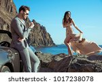 young attractive couple... | Shutterstock . vector #1017238078