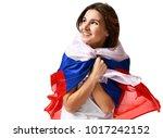 happy russian soccer fan with... | Shutterstock . vector #1017242152