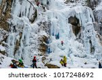 the waterfall which froze  ice... | Shutterstock . vector #1017248692