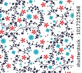 ivy flowers pattern with dotted ... | Shutterstock .eps vector #1017252568