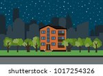 vector city with three story... | Shutterstock .eps vector #1017254326